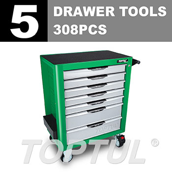 W/7-Drawer Tool Trolley - 308PCS Mechanical Tool Set (PRO-PLUS SERIES) GREEN - Flat Finished