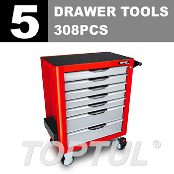 W/7-Drawer Tool Trolley - 308PCS Mechanical Tool Set (PRO-PLUS SERIES) RED - Flat Finished